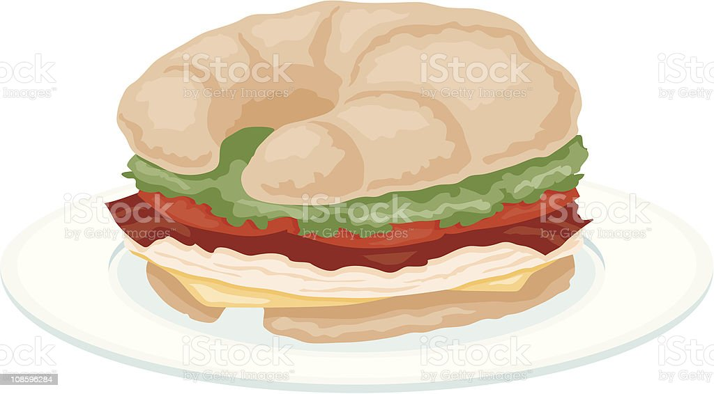 Croissant Sandwich vector art illustration
