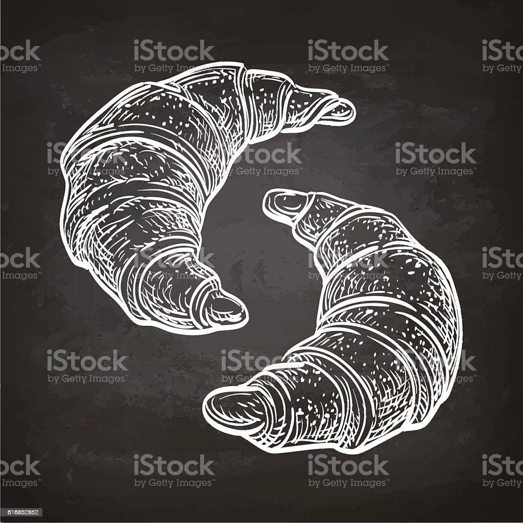 Croissants on chalkboard. vector art illustration