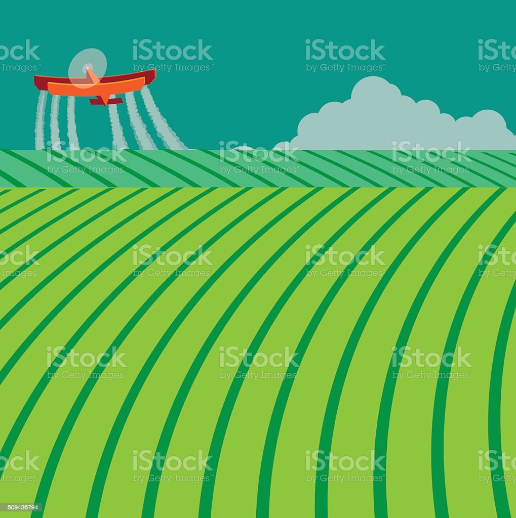 Crop duster spraying toxic chemicals vector art illustration