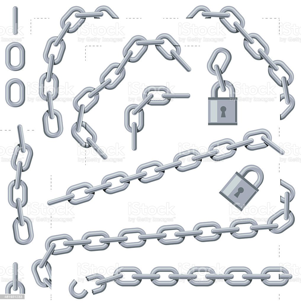 Cropped chain overlays vector art illustration