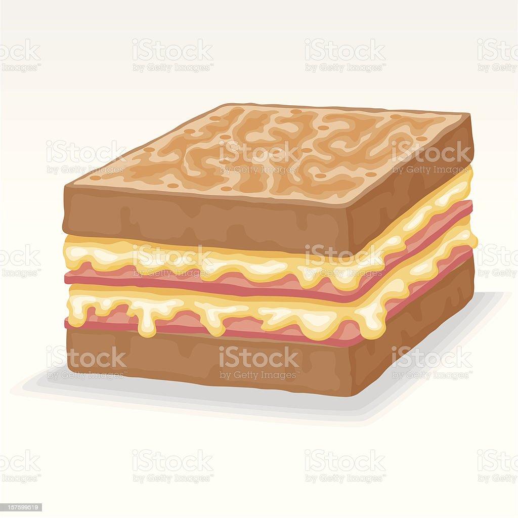 Croque-monsieur Sandwich vector art illustration