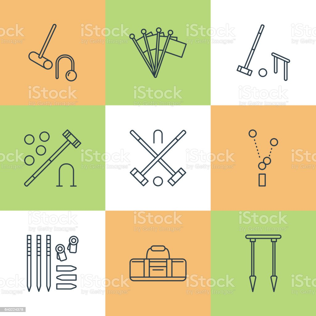 Croquet sport game vector line icons. Ball, mallets, hoops, pegs vector art illustration