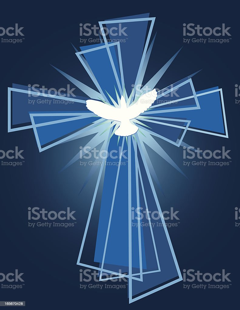 Cross and Dove royalty-free stock vector art