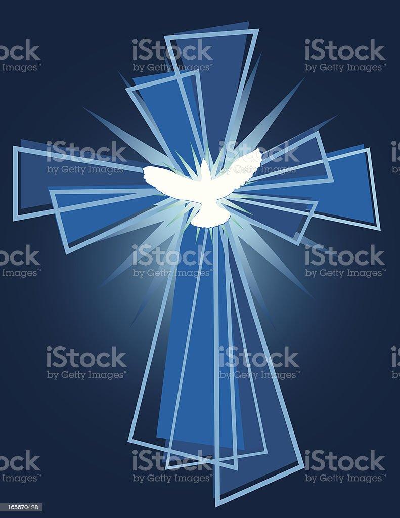 Cross and Dove vector art illustration