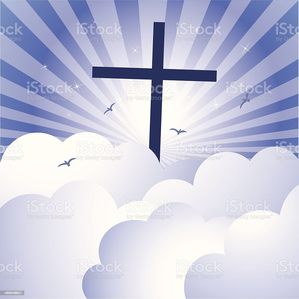Cross and glorious sky royalty-free stock vector art