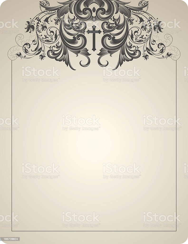 Cross and Scrollwork Header royalty-free stock vector art
