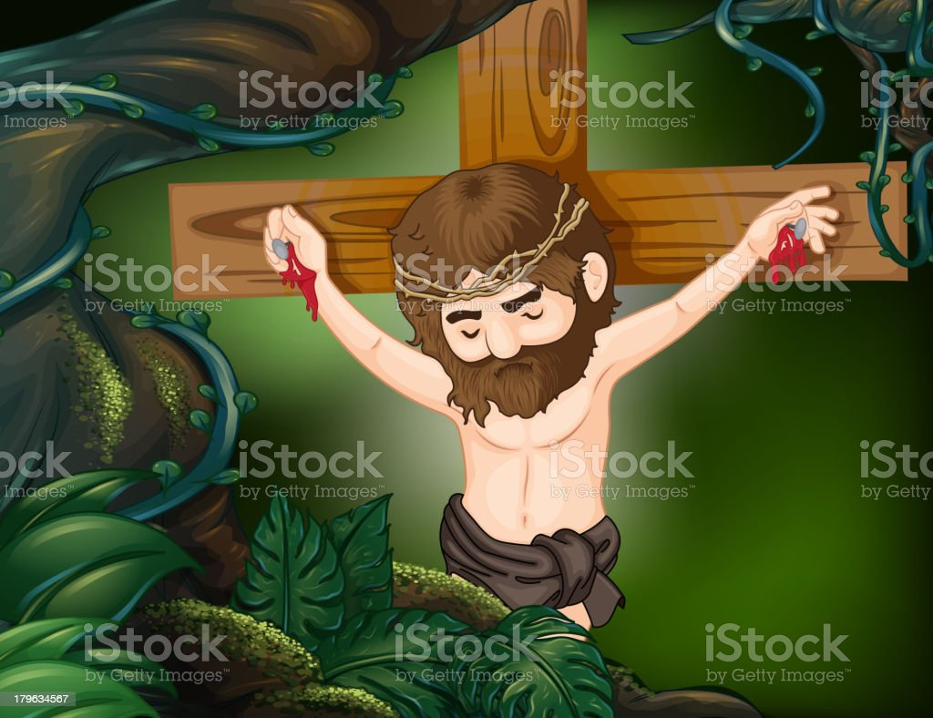 cross at the rainforest royalty-free stock vector art