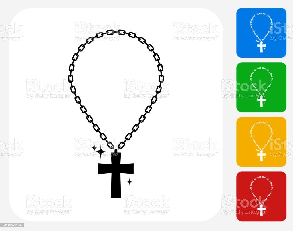 Cross Chain Icon Flat Graphic Design vector art illustration