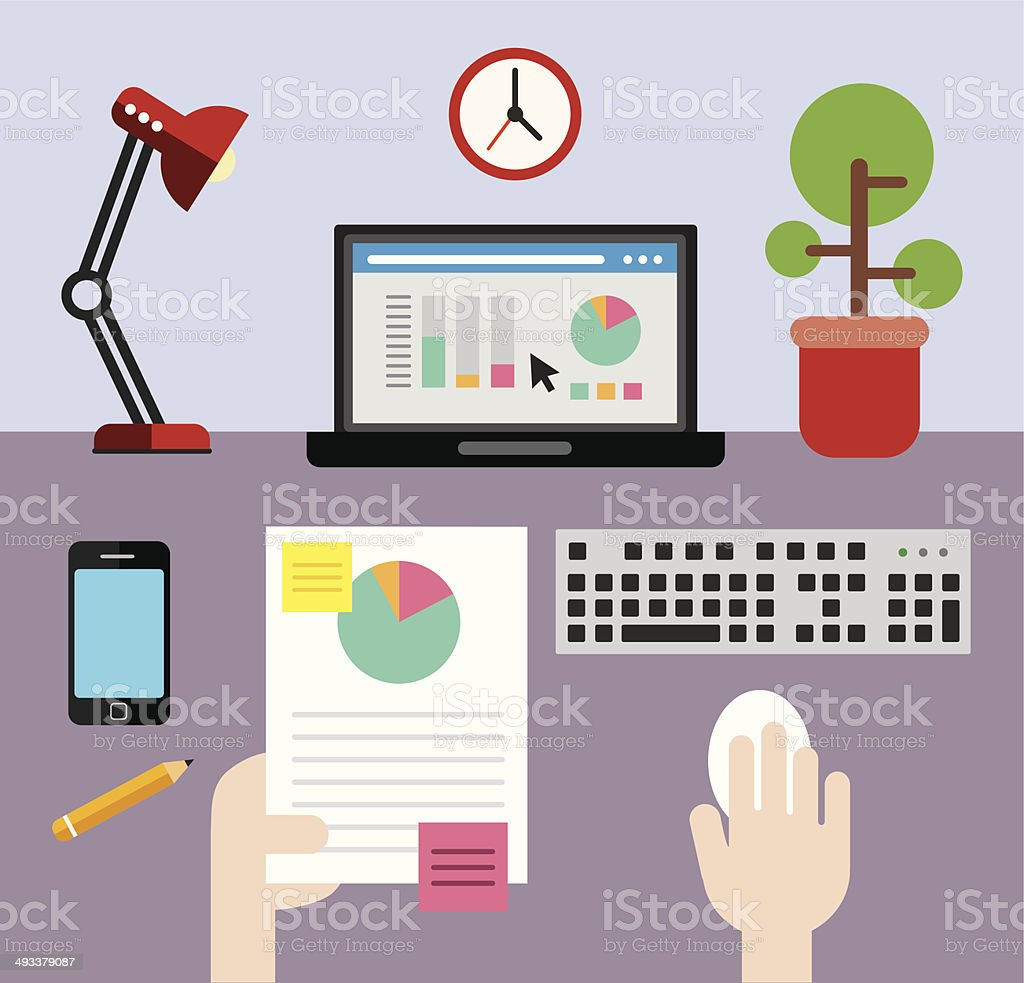 Cross checking the stats vector art illustration