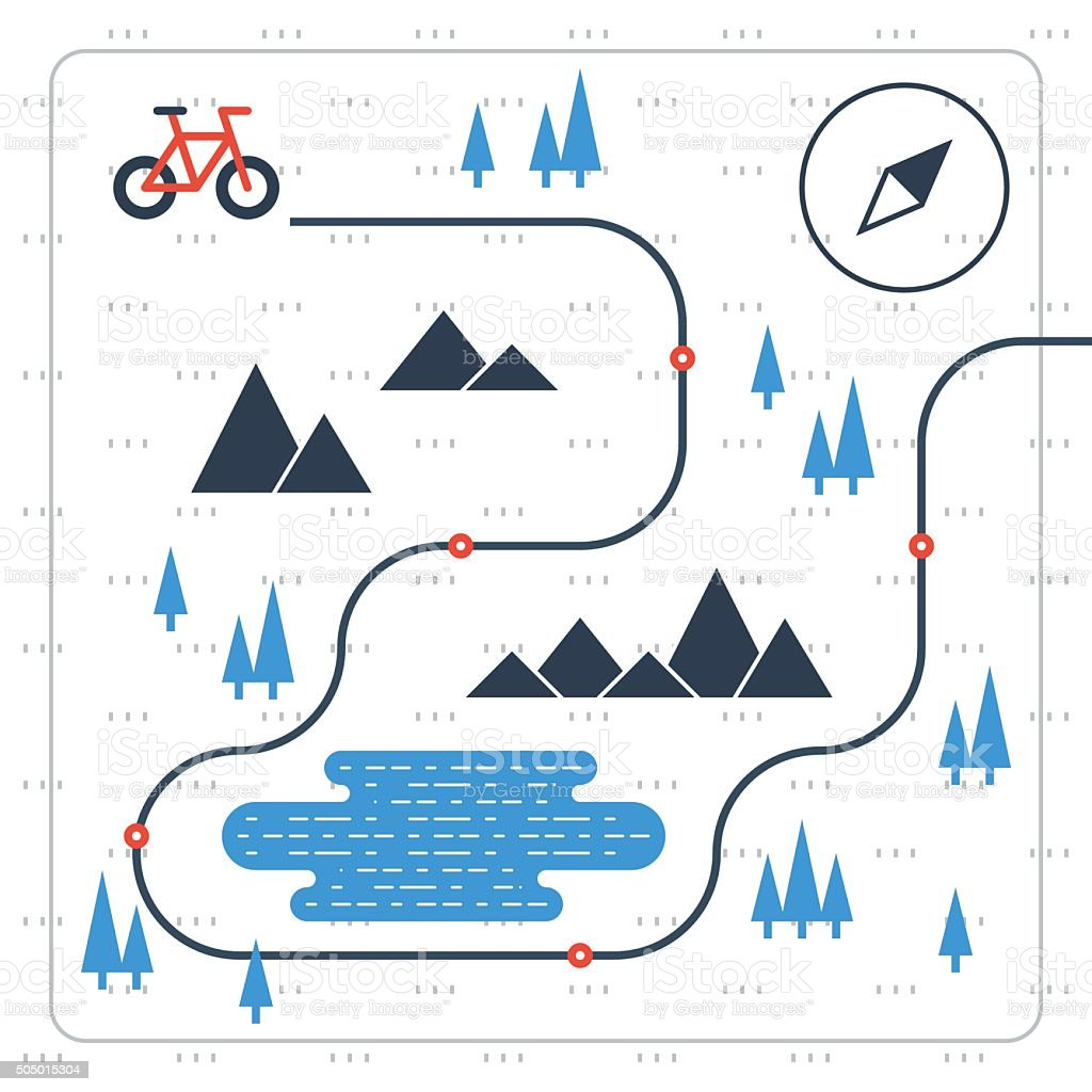 Cross country bicycle map vector art illustration
