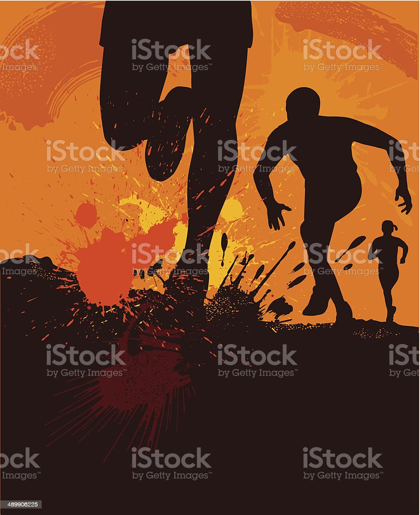 Cross country or Trail Running royalty-free stock vector art
