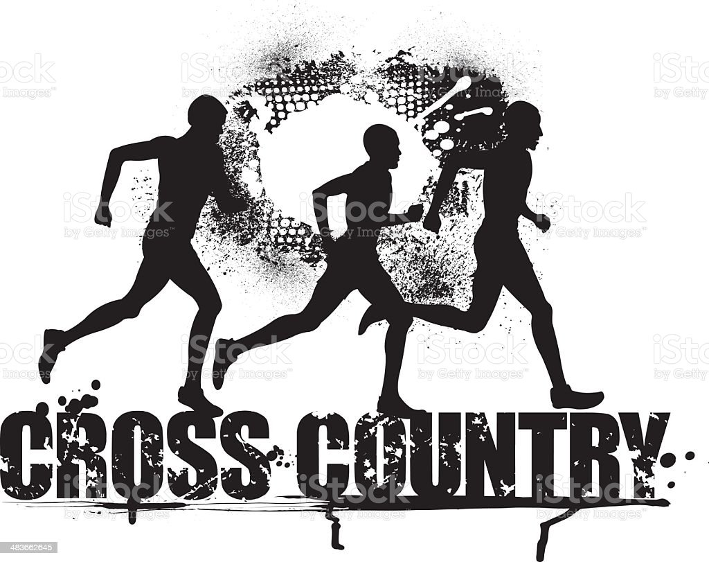 cross country runners grunge graphic stock vector art