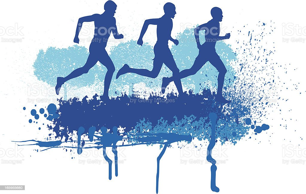 Cross Country Runners - Track Event Background royalty-free stock vector art
