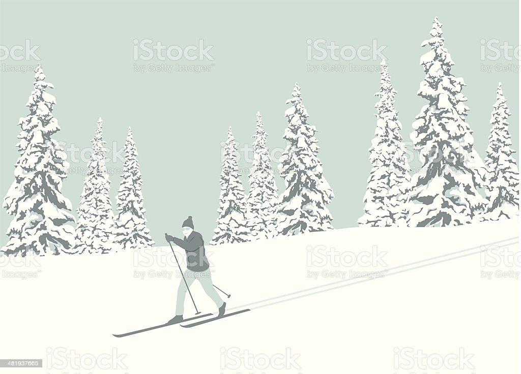 Cross Country Skier vector art illustration