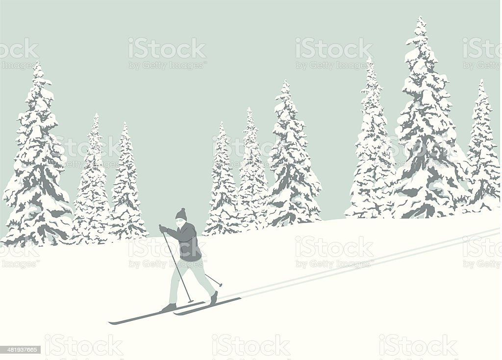 Cross Country Skier vector art illustration