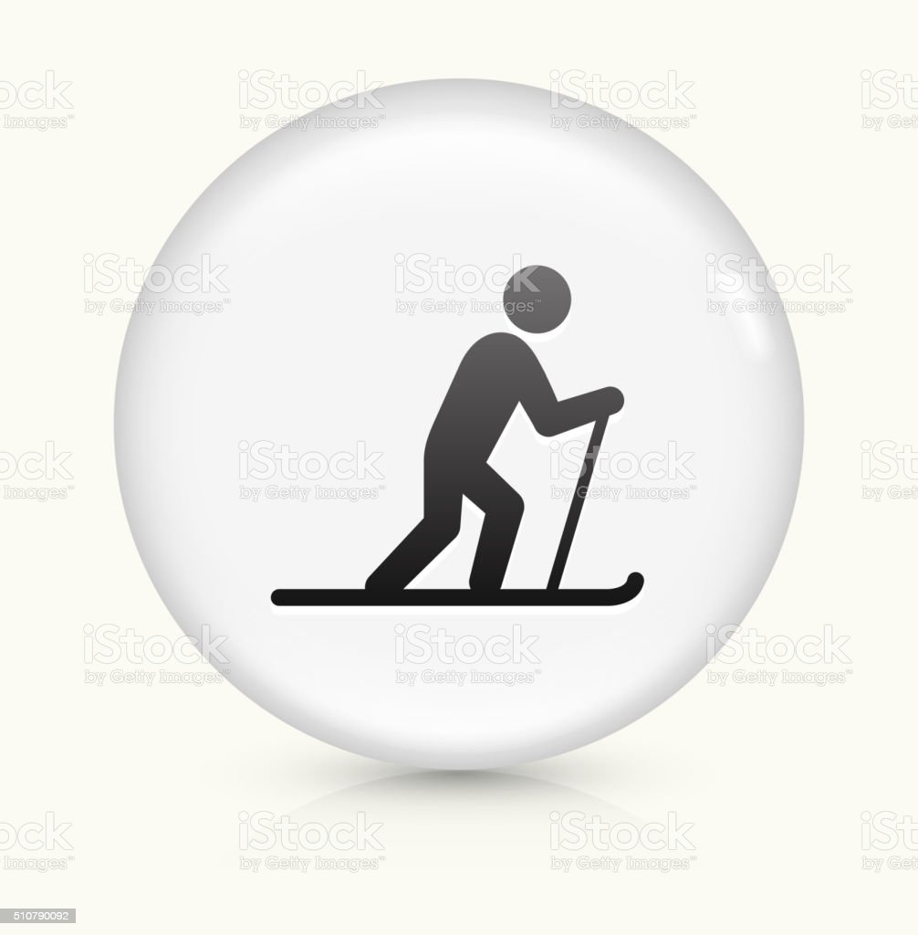 Cross Country Skiing icon on white round vector button vector art illustration