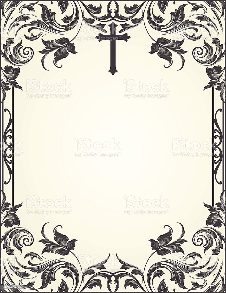 Cross Flourish Frame scrollwork royalty-free stock vector art