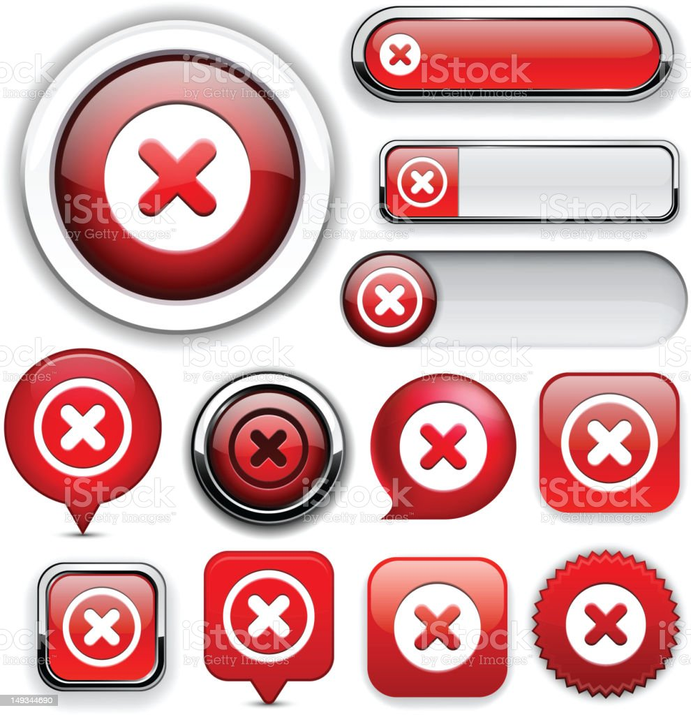 Cross high-detailed web button collection. royalty-free stock photo