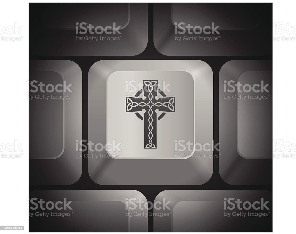 Cross Icon on Computer Keyboard royalty-free stock vector art