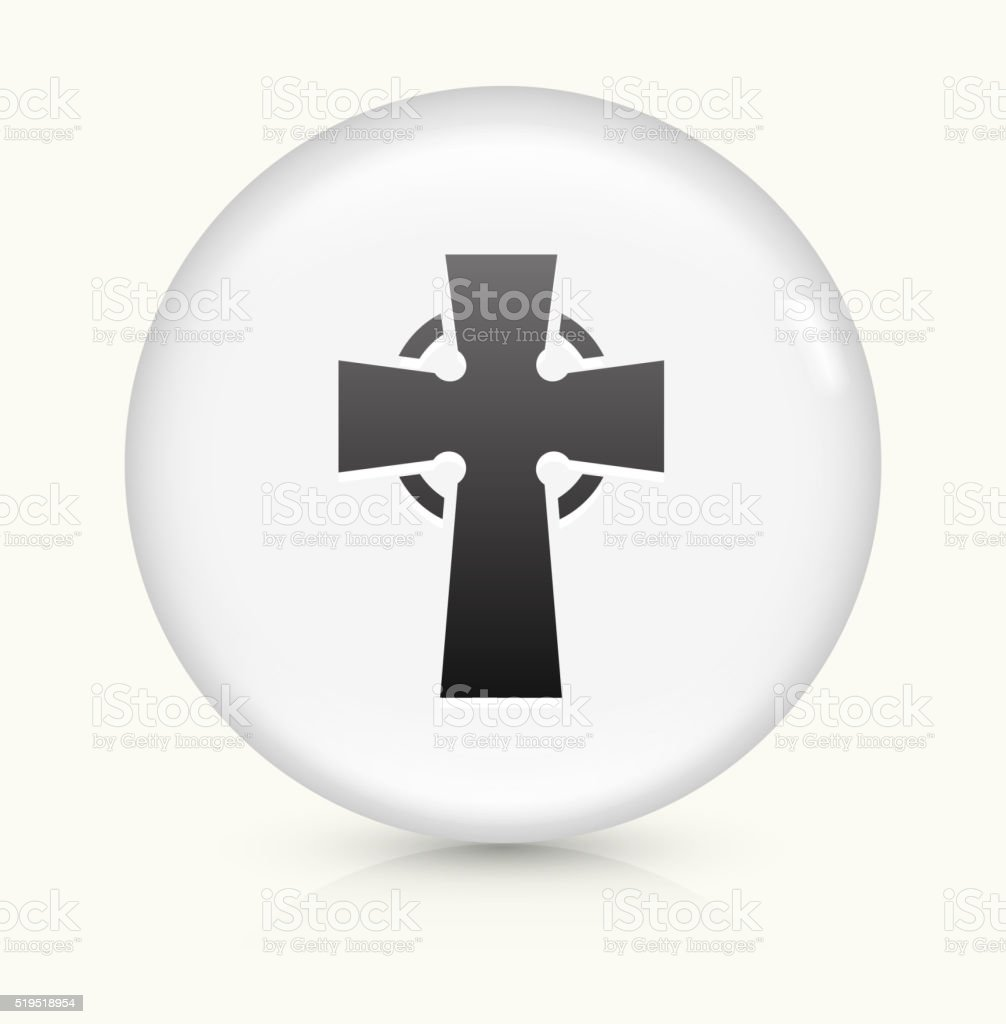 Cross icon on white round vector button vector art illustration
