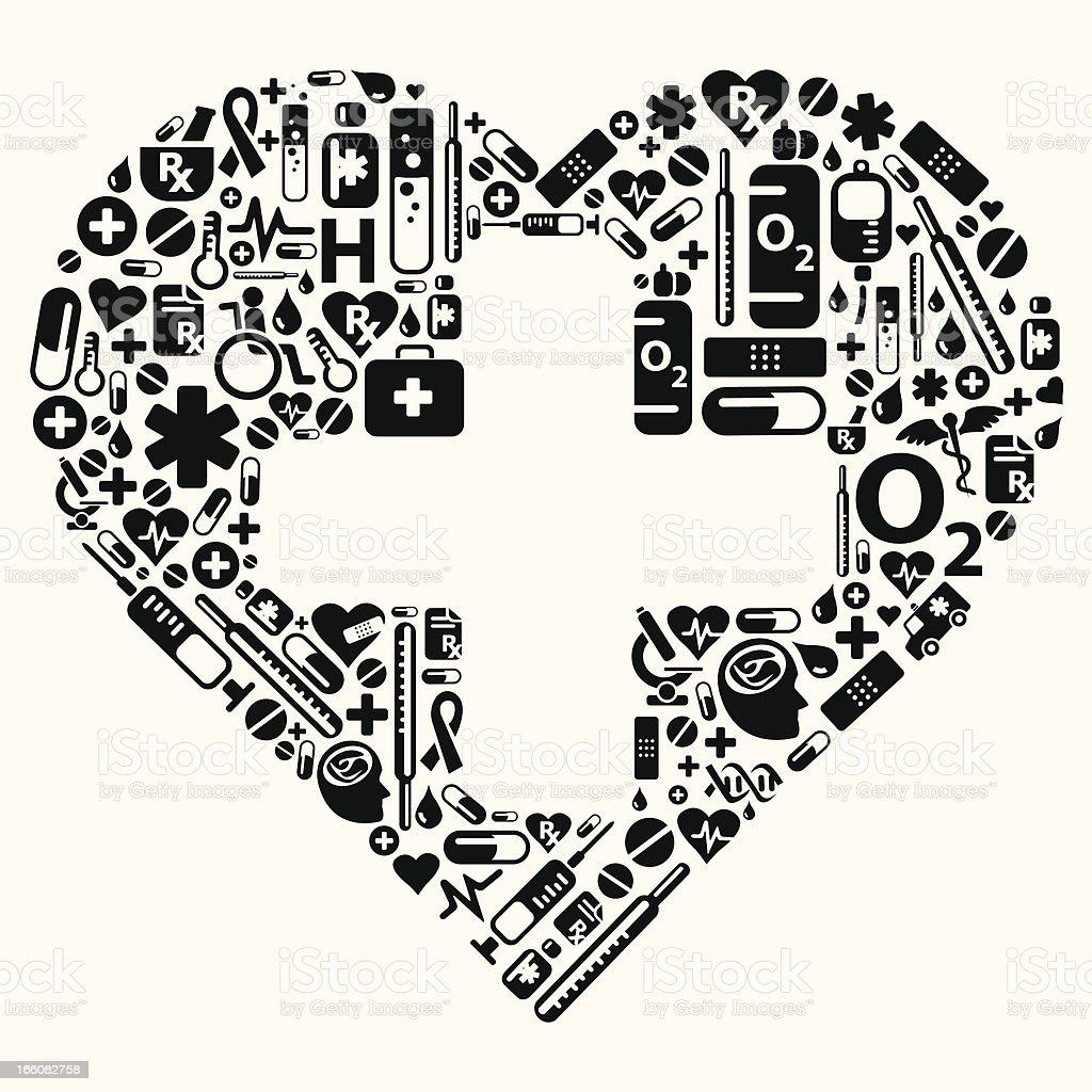 Cross inside Heart shape using medical icons royalty-free stock vector art