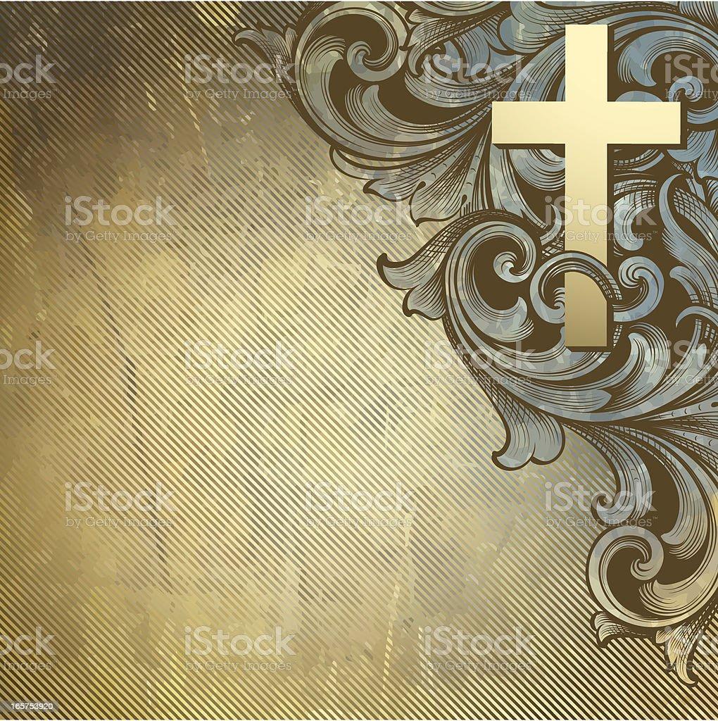 Cross Intertwine Scrollwork vector art illustration