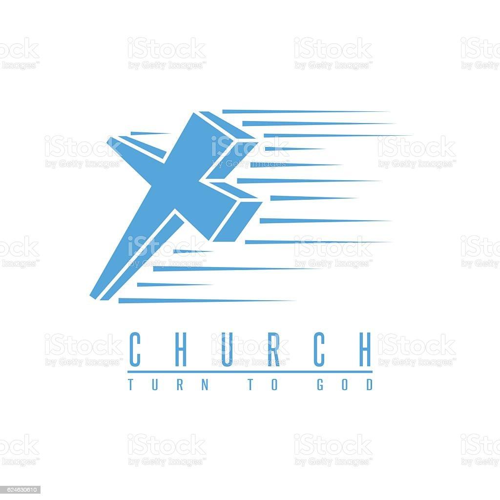 Cross logo church, spirituality religion symbol blue mockup,...