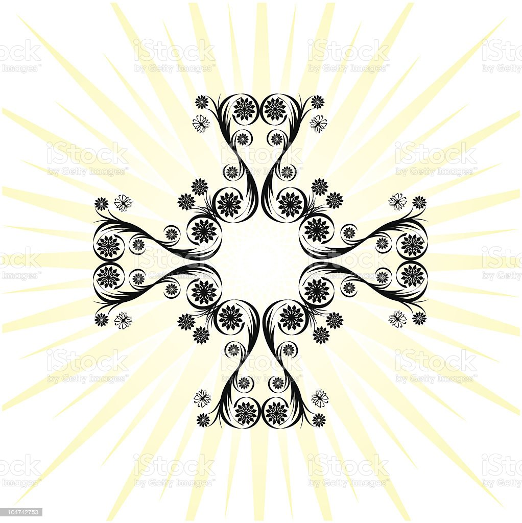 cross made with floral ornament royalty-free stock vector art
