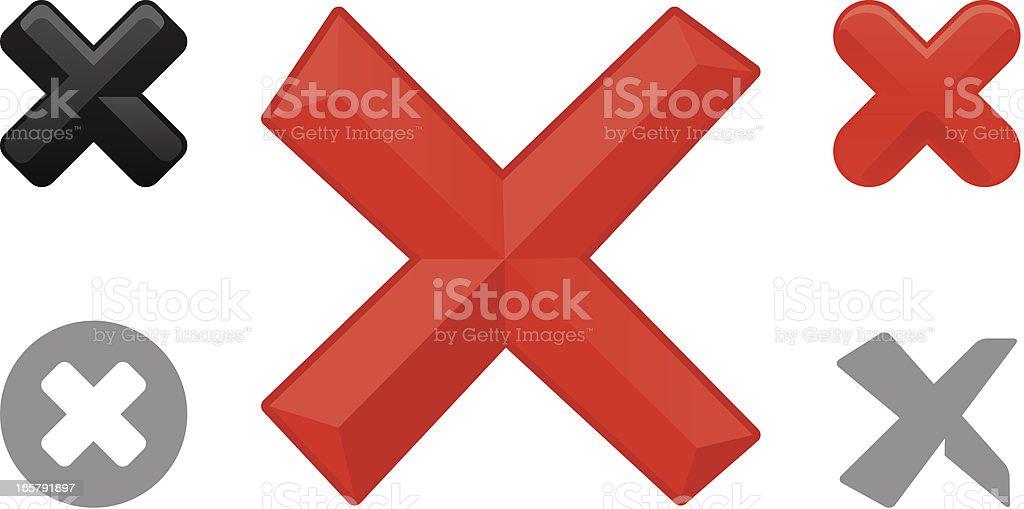 Cross Mark object icons vector art illustration