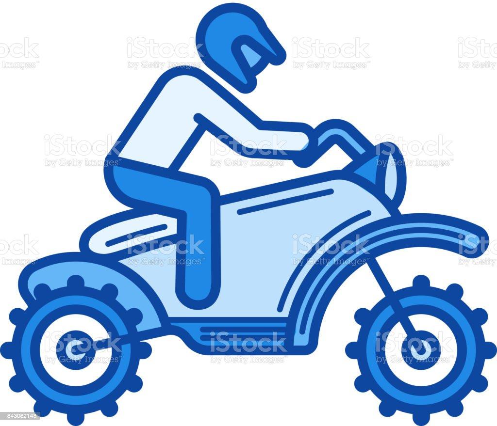 Cross motorcycle line icon vector art illustration