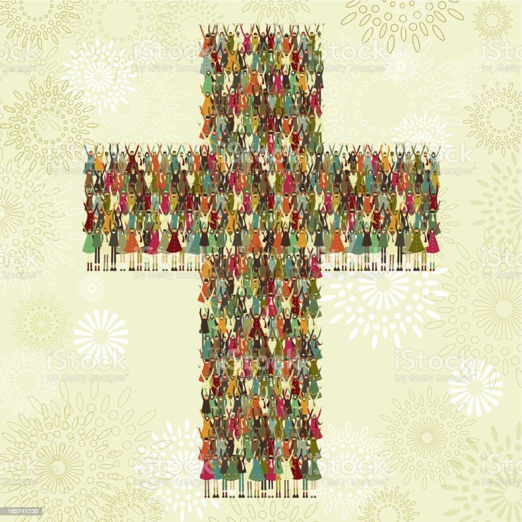 Cross of children vector art illustration