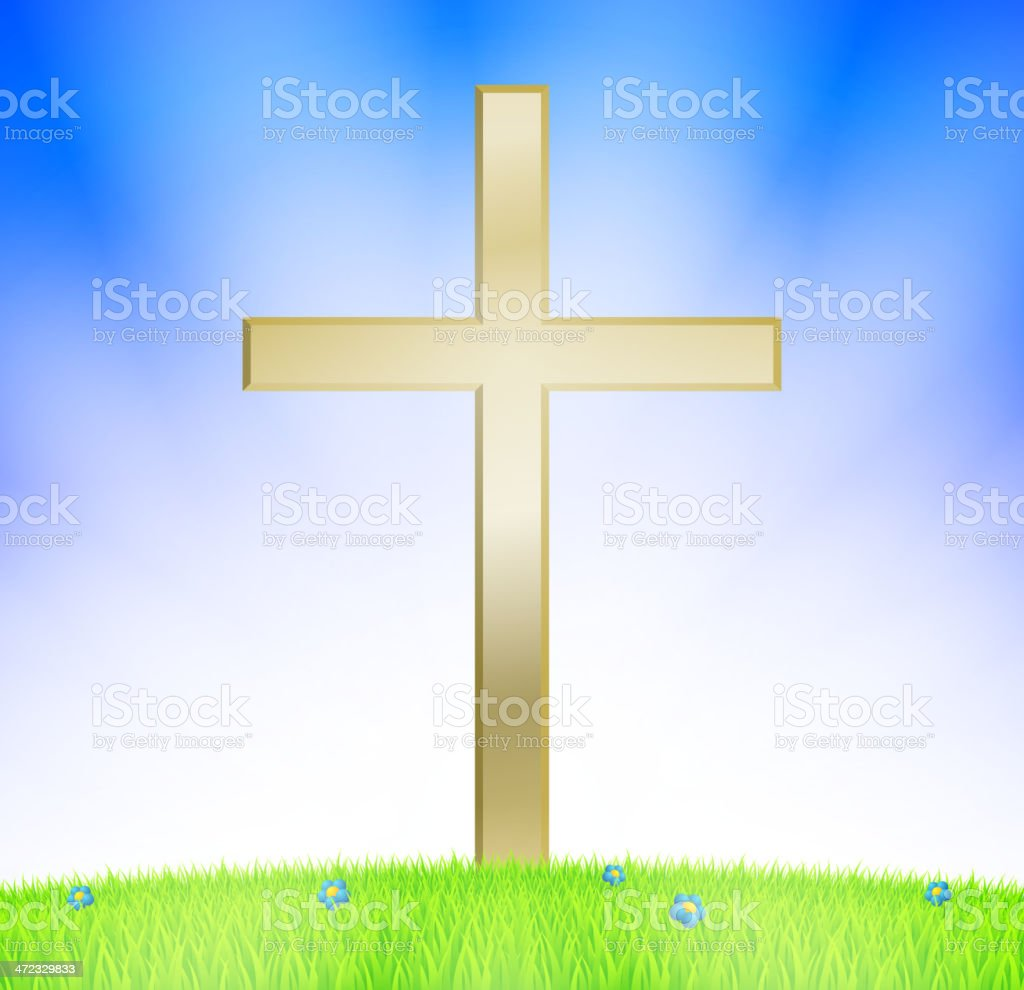 Cross on meadow royalty-free stock vector art
