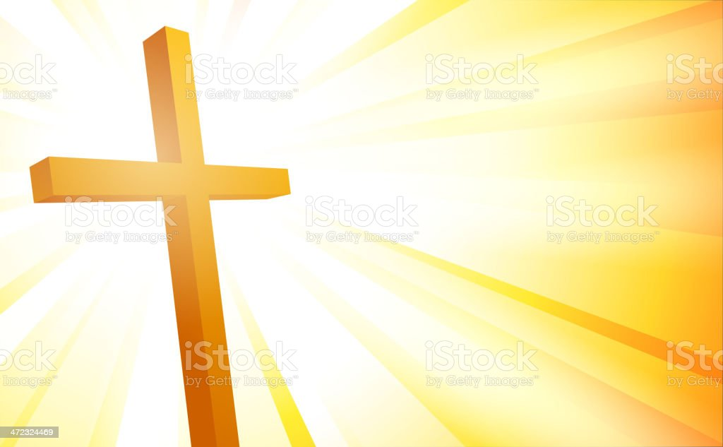Cross on sunburst background royalty-free stock vector art
