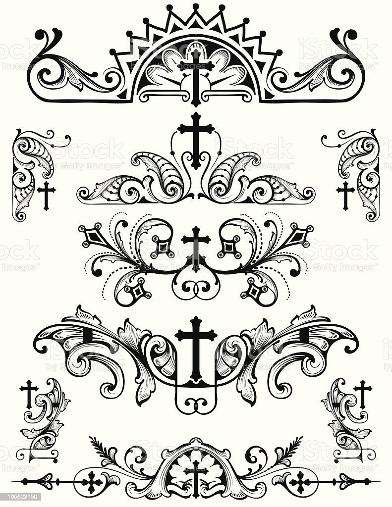 Cross Ornament Set christian religion symbols royalty-free stock vector art
