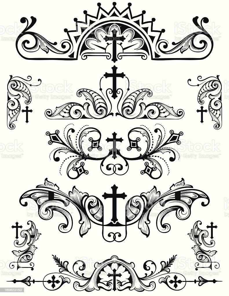Cross Ornament Set christian religion symbols vector art illustration