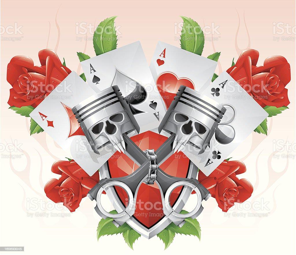 cross pistons vector art illustration