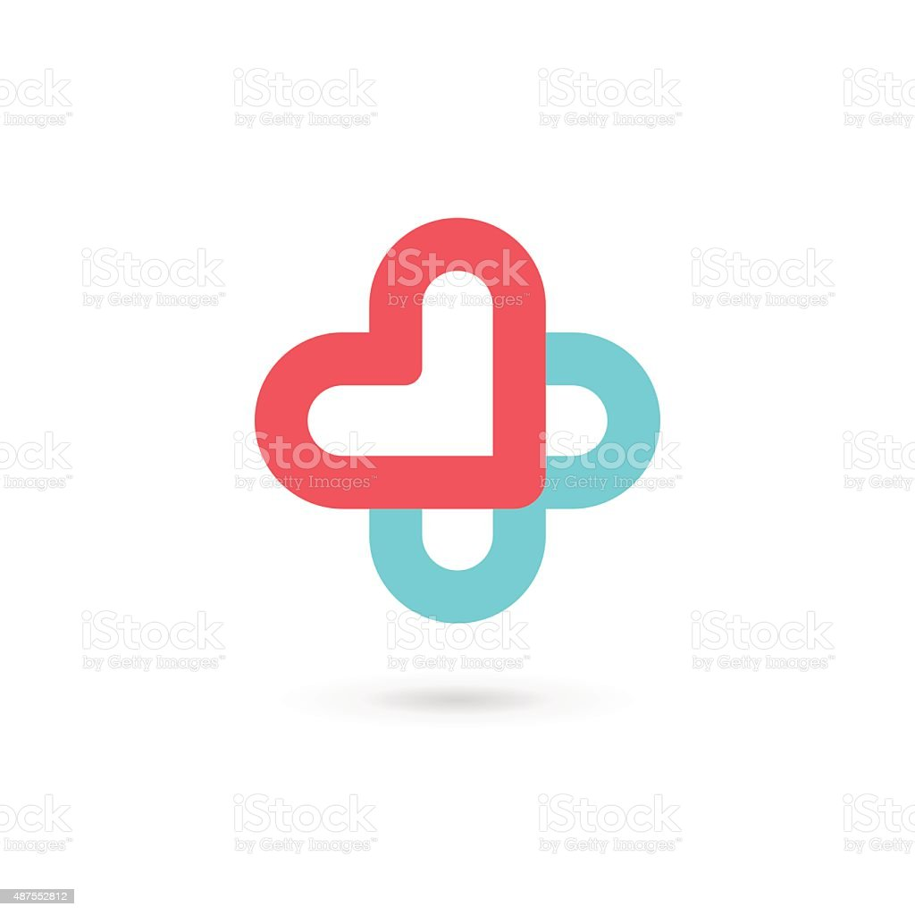 Cross plus heart medical icon design template elements vector art illustration
