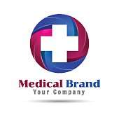 Cross plus medical logo icon design template elements. Vector    for