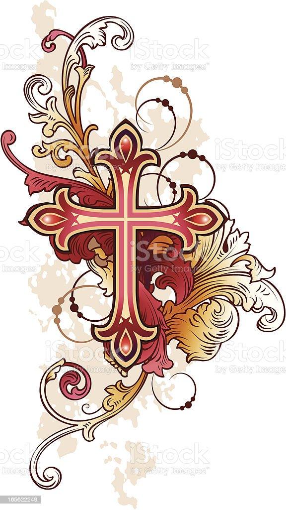 Cross red vector art illustration