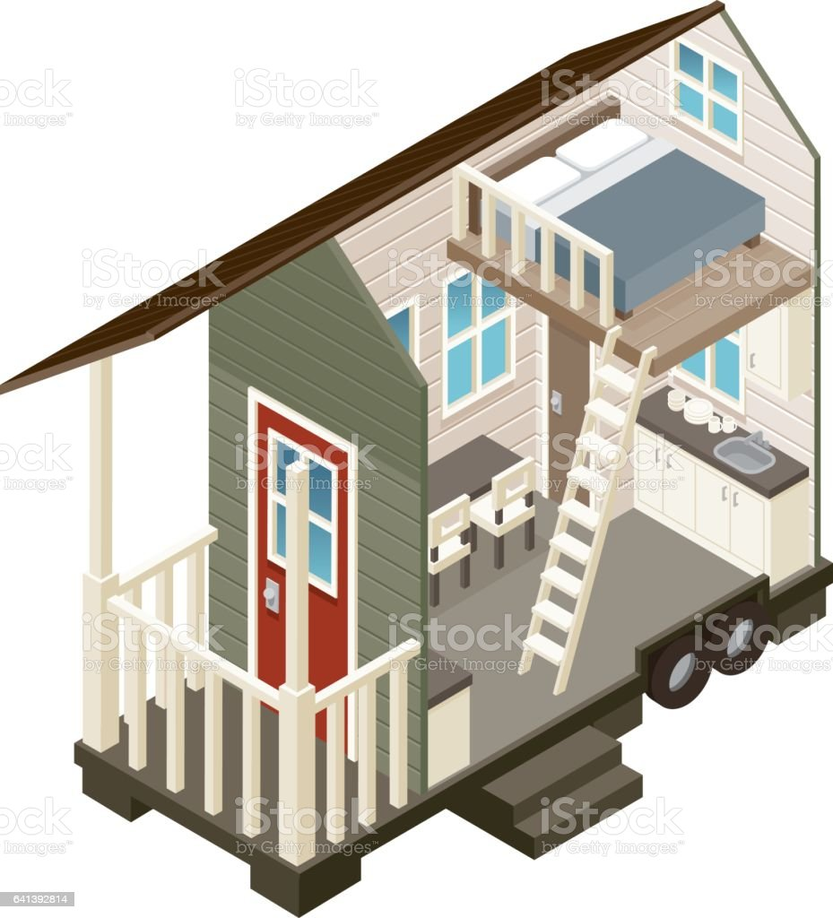 Cross Section View of a Tiny House vector art illustration