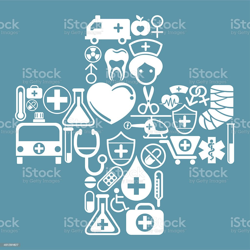 Cross shape pattern with medical icon vector art illustration