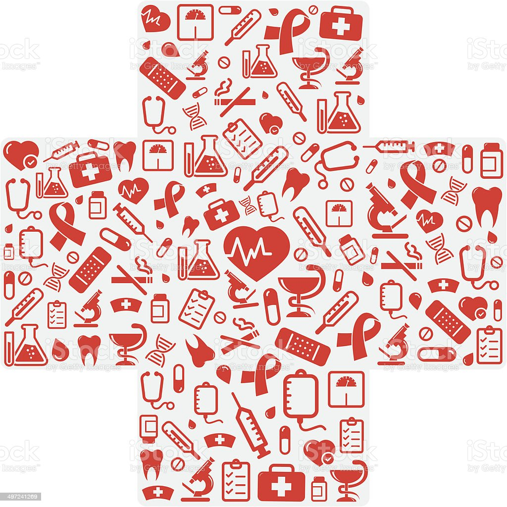 Cross shape with medical icons vector art illustration