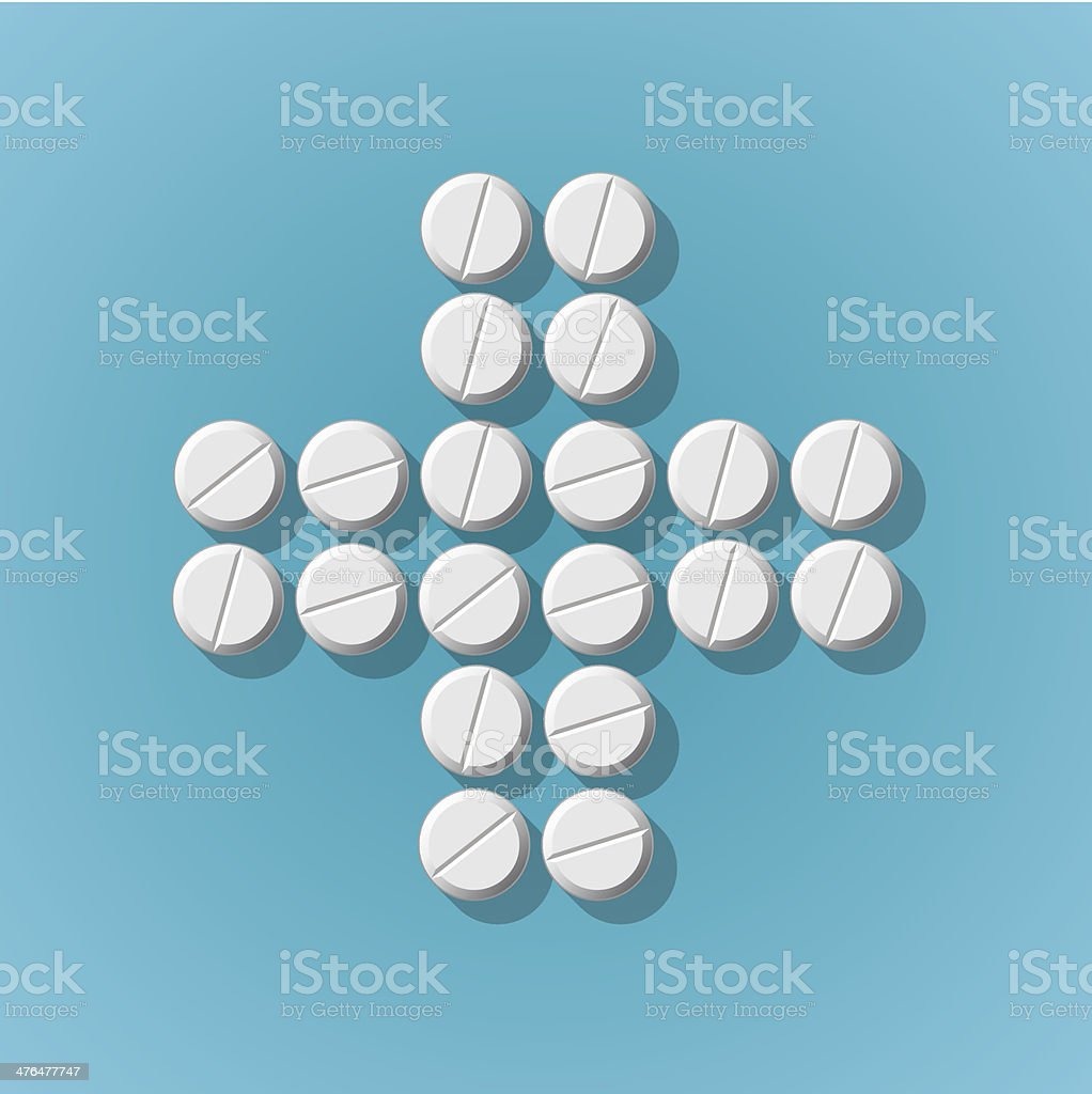 Cross shape with medical pills on blue background royalty-free stock vector art