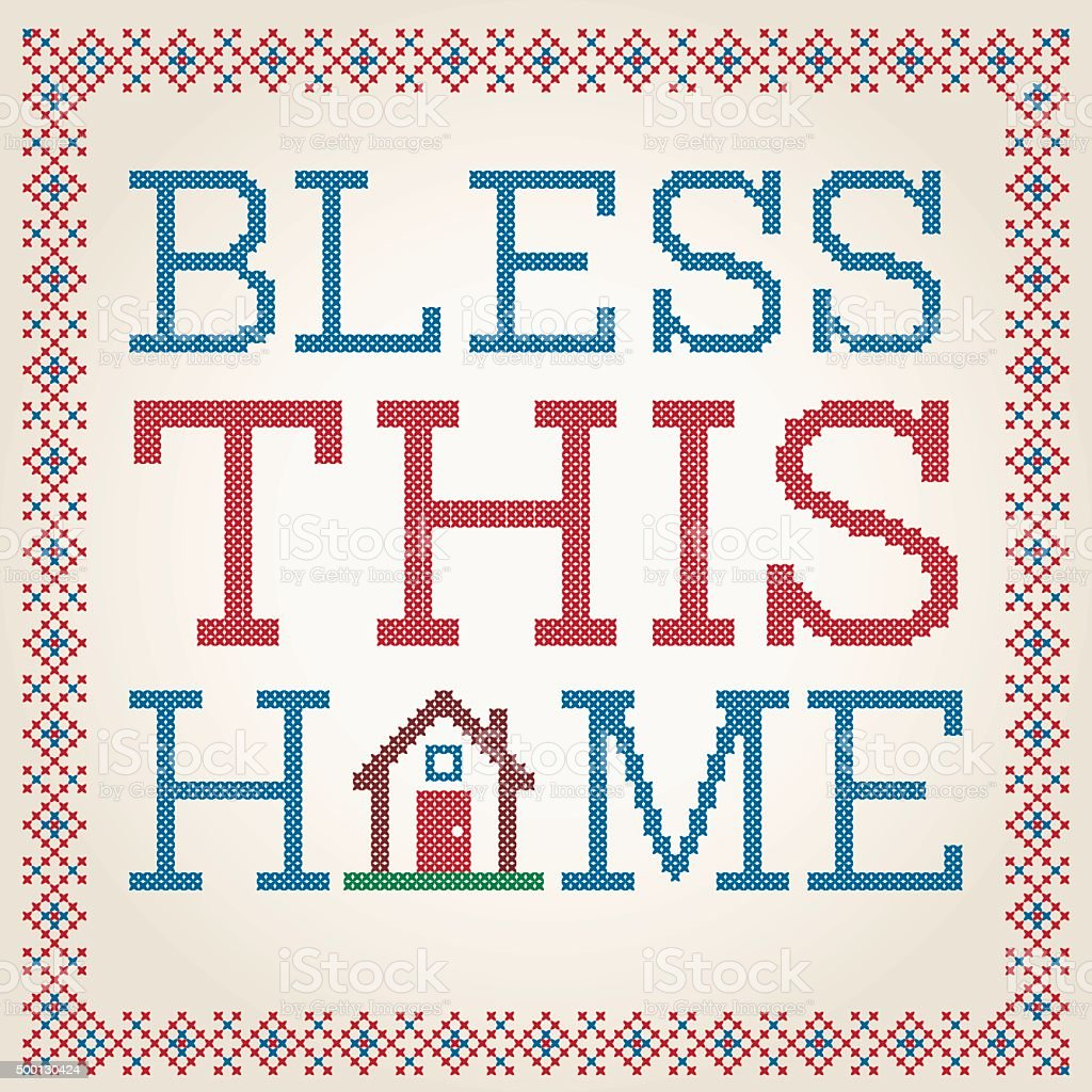 Cross Stitched Bless This Home Decoration With Border Design vector art illustration