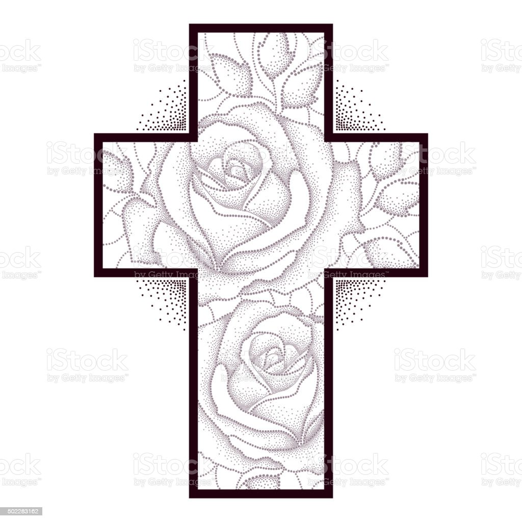 Cross with dotted rose flower and leaves isolated on white vector art illustration