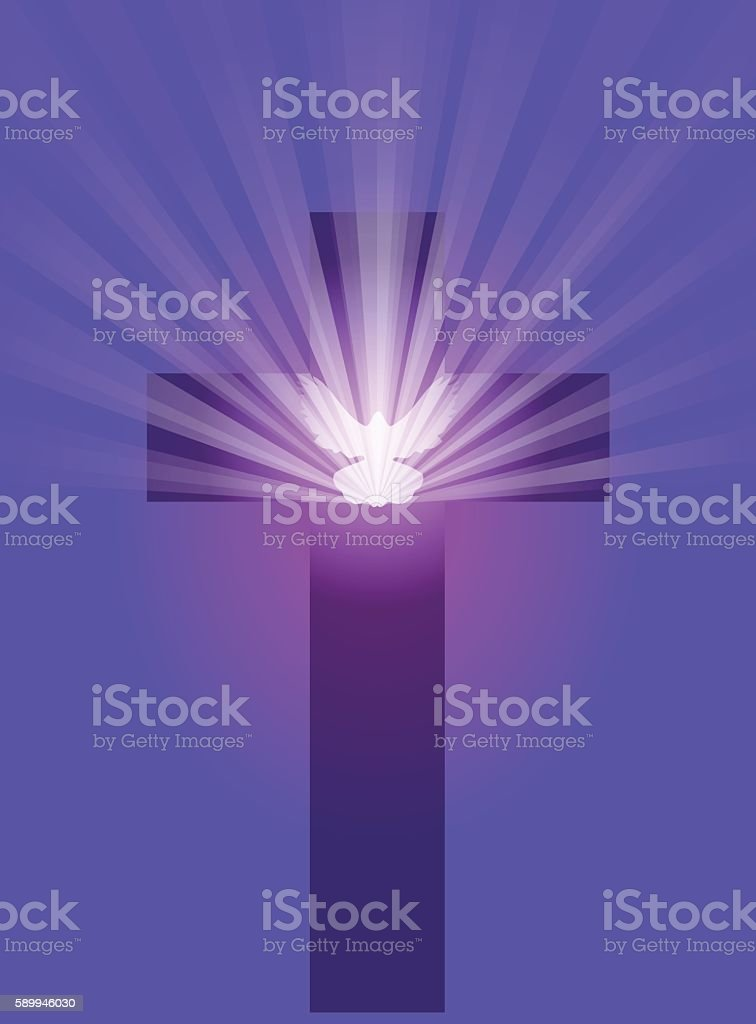 Cross with Dove with Light Rays on Purple vector art illustration