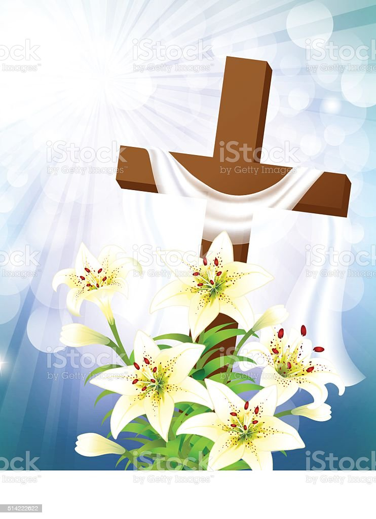 Cross with Lily vector art illustration
