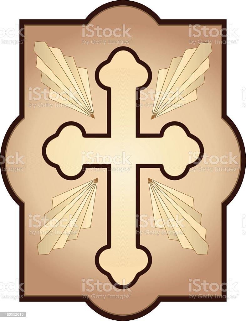 Cross with rays vector art illustration