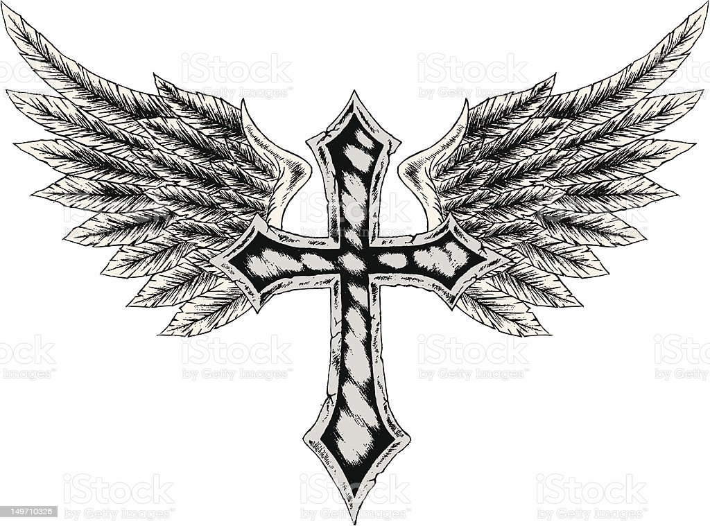 cross with wing illustration royalty-free stock vector art