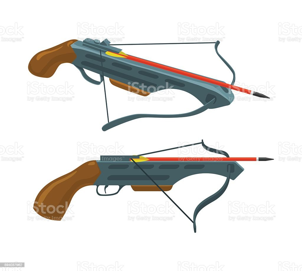 Crossbow with arrow. Weapon and archery. Vector flat icon. vector art illustration
